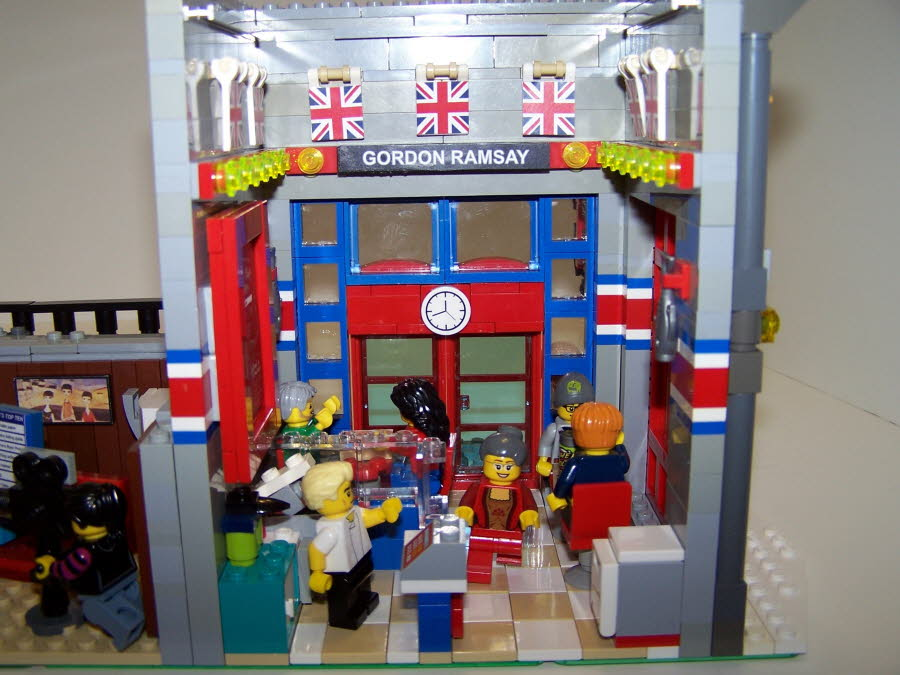 Interior of Gordon Ramsay's Fish & Chips, Featuring a Kitche, Seating, and British Flags On The Walls!  The Interior Is Not Based On The Interior Of The Actual Las Vegas Restaurant, I Created My Own