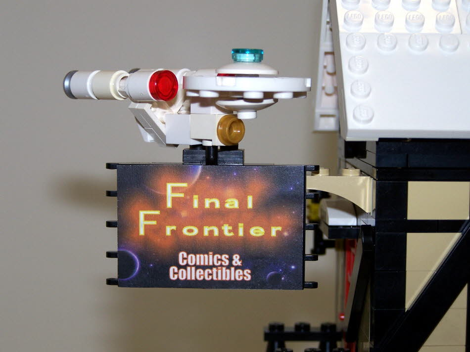 Final Frontier Sign With Mini Enterprise From Star Trek